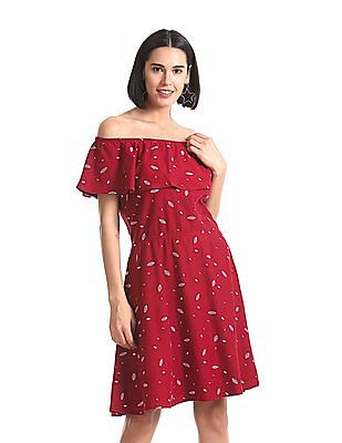 SUGR Printed Off Shoulder Dress