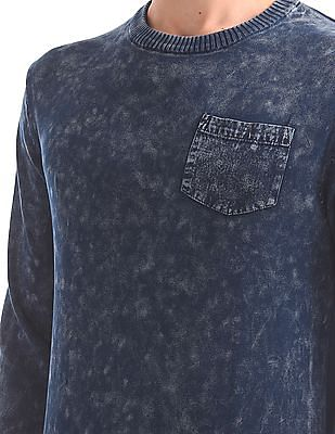 Flying Machine Washed Crew Neck Sweater
