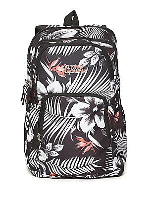 Flying Machine Black Floral Print Laptop Backpack