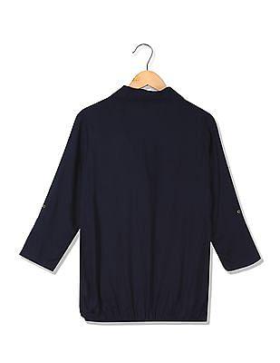 U.S. Polo Assn. Women Spread Collar Solid Blouson Top