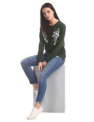 Cherokee Green Crew Neck Floral Print Sweatshirt