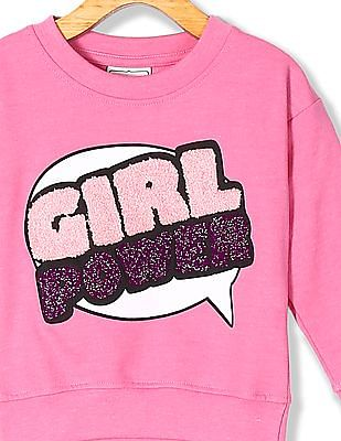 Cherokee Girls Crew Neck Appliqued Sweatshirt