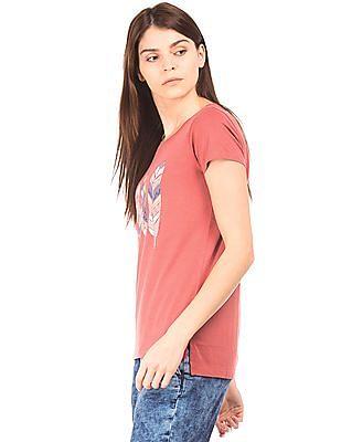 U.S. Polo Assn. Women Regular Fit Graphic Print T-Shirt