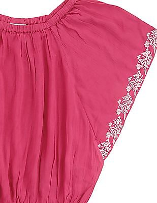 Cherokee Girls Embroidered Crinkled Top