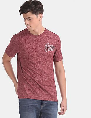 GAP Red Crew Neck Embroidered Logo T-Shirt