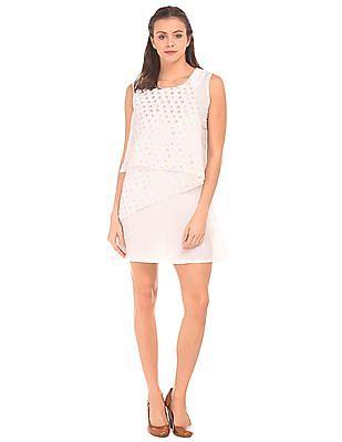 Bronz Foil Printed Overlay Sleeveless Shift Dress