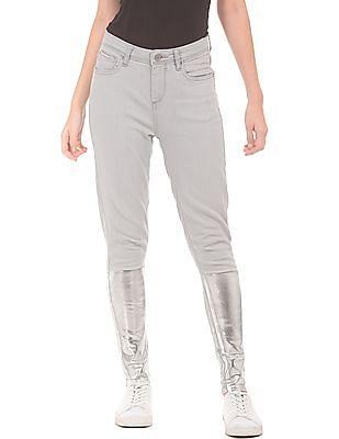 EdHardy Women Foil Print High Rise Jeans