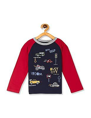 The Children's Place Blue Baby And Toddler Boy Long Raglan Sleeve Graphic Top