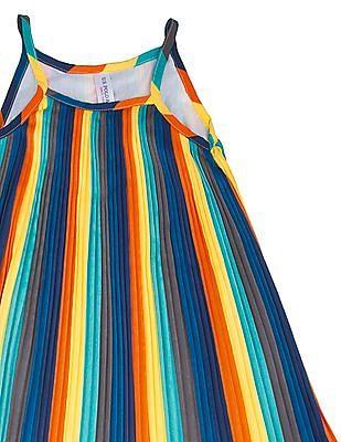 U.S. Polo Assn. Kids Girls Striped Accordion Pleat Swing Dress
