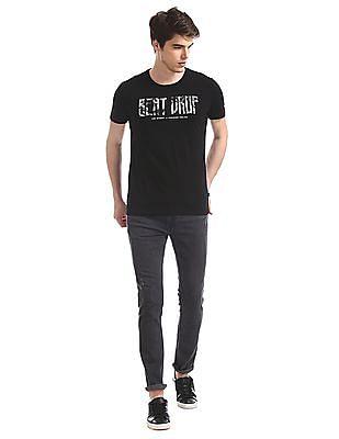 Flying Machine Black Crew Neck Graphic T-Shirt
