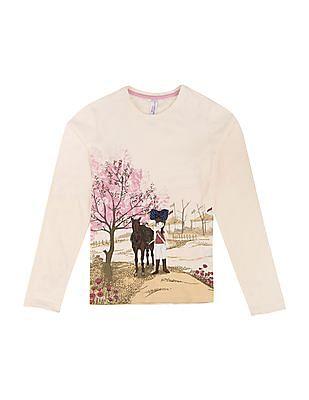 U.S. Polo Assn. Kids Girls Printed Regular Fit T-Shirt