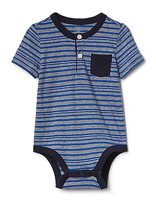 GAP Baby Blue Pocket Henley Bodysuit