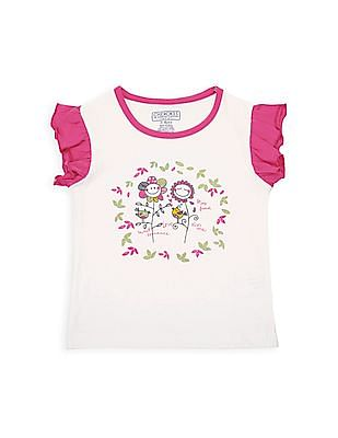 Cherokee Girls Contrast Ruffle Sleeve Printed T-Shirt