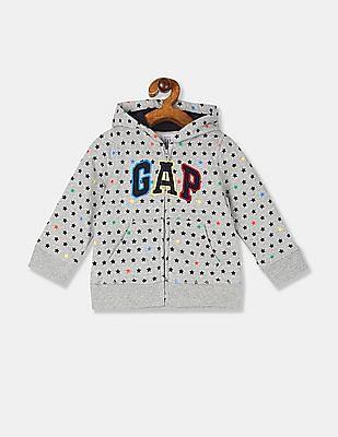 GAP Baby Boy Grey Hooded Printed Sweatshirt