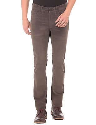 Flying Machine Washed Slim Tapered Fit Corduroy Trousers