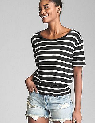 GAP Women Black Short Sleeve Stripe Smocked Hem Top
