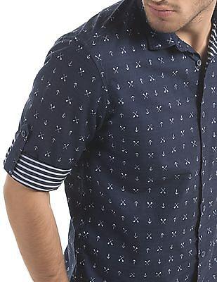 Cherokee Contemporary Fit Nautical Print Shirt