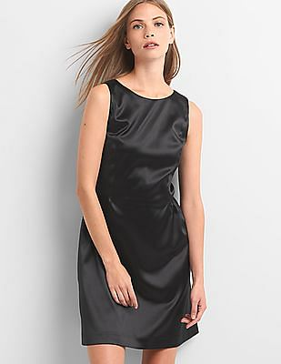 GAP Women Black Structured Satin Fit And Flare Dress