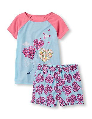 The Children's Place Girls Short Sleeve 'Sweet Dreams' Balloon Hearts Pyjama Set
