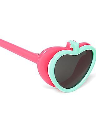 Unlimited Girls Layered Heart Frame Colour Block Sunglasses