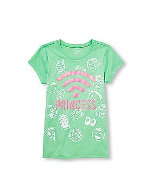 The Children's Place Girls Short Sleeve Glitter Wifi Princess Emoji Graphic Tee