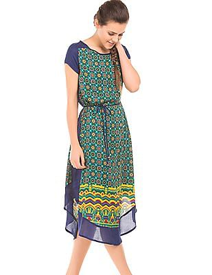 Bronz Panelled Printed A-Line Dress