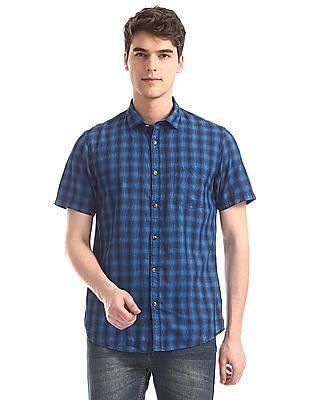 Ruggers Blue Regular Fit Check Shirt