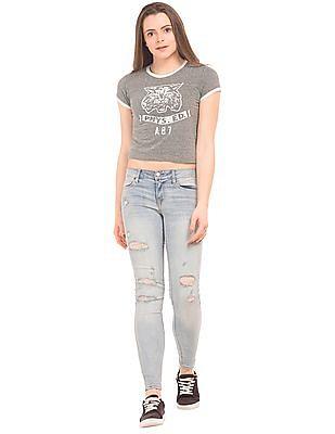 Aeropostale Contrast Trim Cropped T-Shirt
