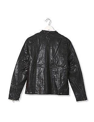 Flying Machine Stand Collar Panelled Jacket