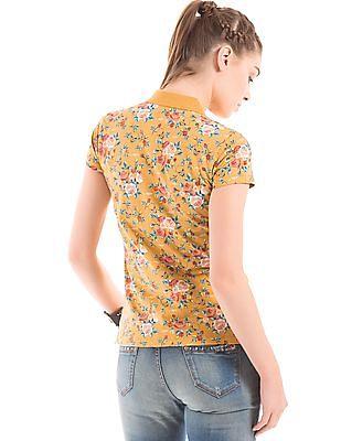 EdHardy Women Floral Print Short Sleeve Polo Shirt