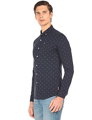Flying Machine Slim Fit Printed Knit Shirt