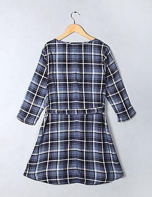 GAP Girls Plaid Check Combo Shirt Dress