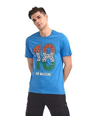 Colt Blue Round Neck Numeric Print T-Shirt