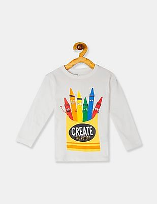 GAP Boys White Graphic Long Sleeve T-Shirt