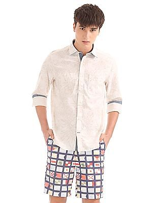 Nautica Long Sleeve Chambray Leaf Shirt