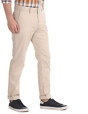 U.S. Polo Assn. Beige Denver Slim Fit Mid Rise Trousers