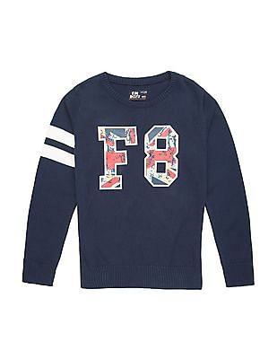 FM Boys Boys Printed Slim Fit Sweater