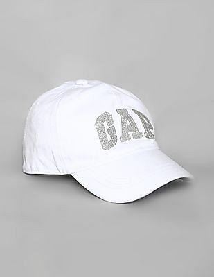 GAP White Boys Glitter Logo Baseball Hat