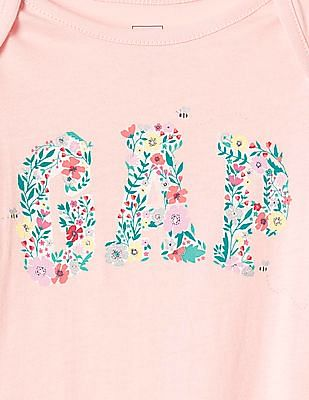 GAP Baby Pink Floral Logo Short Sleeve Bodysuit