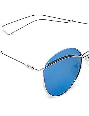 SUGR Stylized Round Frame Mirrored Sunglasses