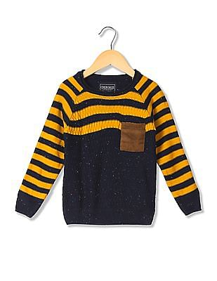 Cherokee Boys Round Neck Patterned Knit Sweater