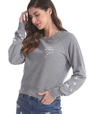 Aeropostale Grey Raglan Sleeve Heathered Sweatshirt