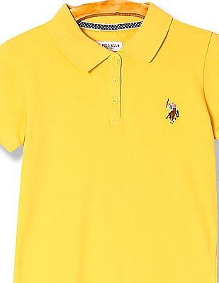 U.S. Polo Assn. Kids Girls Solid Pique Polo Shirt