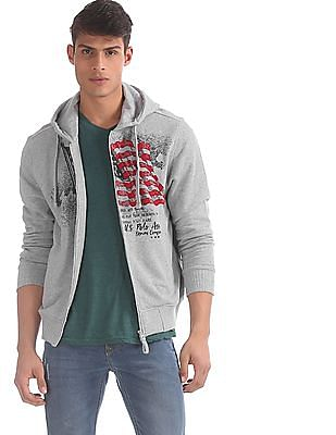 U.S. Polo Assn. Grey Hooded Brand Print Sweatshirt