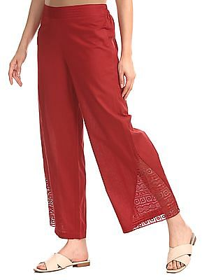 Karigari Red Lace Panel Cotton Linen Palazzos
