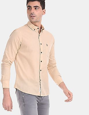 U.S. Polo Assn. Men Beige Button Down Collar Solid Shirt