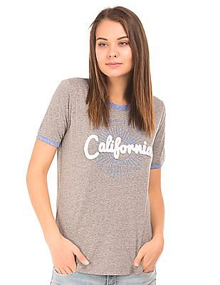 Aeropostale Contrast Neck Heathered T-Shirt