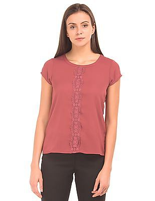 Arrow Woman Lace Trim Patterned Weave Top