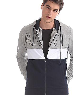 Arrow Sports Grey Hooded Colour Block Sweatshirt