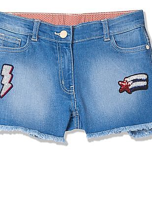 U.S. Polo Assn. Kids Girls Sequinned Denim Shorts
